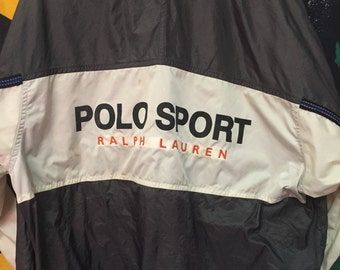RARE!!! Vintage 90s POLO SPORT Windbreaker Jacket Vintage 90s Polo Sport Spell Out Big Logo black/white Color//Large Size