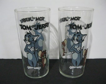Vintage Tom and Jerry Drinking Glasses Set of Two, Tom and Jerry Tumblers, Cartoon Character Drinking Glasses