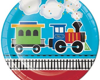 8 CT Train Large Paper Plates/ Luncheon Train Birthday Party Plates/ Train Partyware/ Train Party Supplies