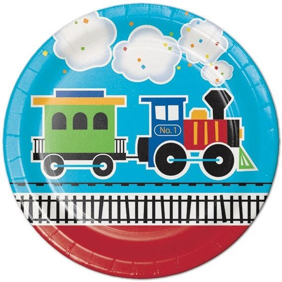 Like this item?  sc 1 st  Etsy & 8 CT Train Large Paper Plates/ Luncheon Train Birthday Party
