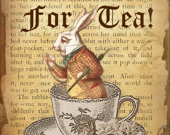 Alice In Wonderland Lewis Carroll  Time For Tea Quote Metal Sign Home Decor Lovely Gift