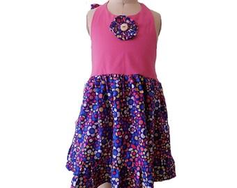 Handmade Floral Print Halter Dress