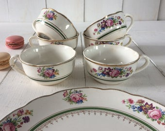 Lot 6 French coffee cups 2 saucers plates.1930's Digoin Sarrreguemines coffee cups, French Vintage .White French pottery cups transferware.