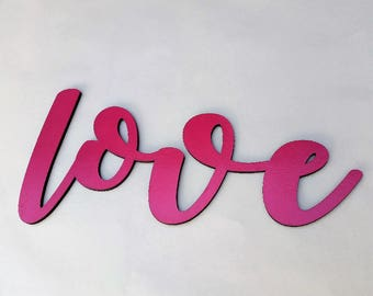 18 X 8 Inch Calligraphy Wood LOVE Sign Pink