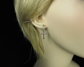 MadMartin Silver Cross Earrings