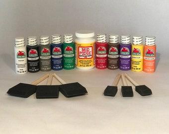 Acrylic paint set with 6 sponge brushes and Mod Podge