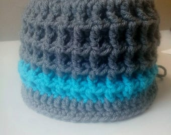 Crochet adult hat beanie grey hat winter hat handmade