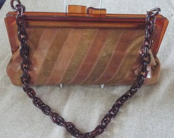Vintage 1960s/1970s Italian suede and leather shoulder bag with bakelite/plastic chain strap and clasp