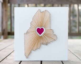 Heart of Maine String Art - White, Gold and Pink