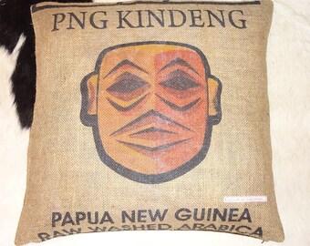 """Pillowcase original coffee bag cushion """"PAPUA"""" 50 x 50 cm"""