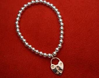 Silver Plated Padlock Bracelet