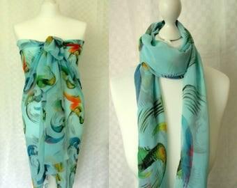 Designer blue chiffon scarf, Sarong, Chiffon scarf, Swirl pattern scarf, Scarf for her, Lightweight scarf, Fashion scarf, Shawl, Sarong