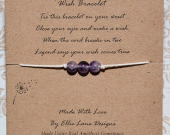 Wish/Friendship Natural Amethyst Gemstones wish bracelet