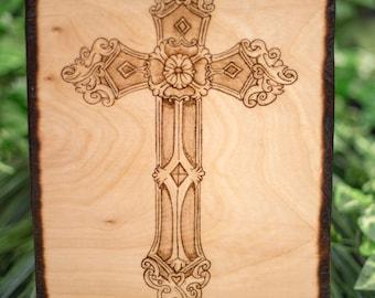 Wood Burned Celtic Cross