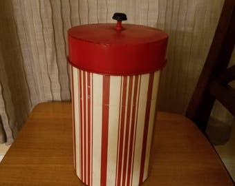 Vintage Steel Red and White Stripe 1940's Canister