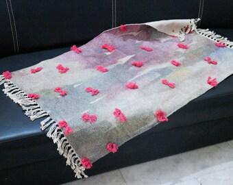Handmade Cotton Rug, 2 x 3 ft, Bath Mat, Area Rug, Small Rug, Watercolor Inspired, Floor Rug, Colorful Rug, Pink Rug, FREE SHIPPING