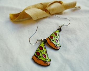 Pizza Slice Earrings ,Miniature Food Jewelry , Pizza Earrings ,Junk Food Jewelry, Statement Jewelry