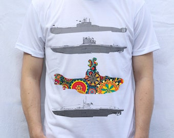 Submarines T shirt, psychedelic design