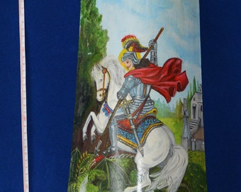Sicilian tile hand-painted with oil paints and Crackle effect depicting St George on horseback