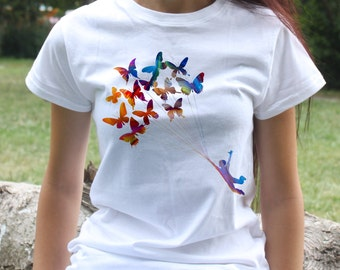 Man Flying Butterflies  t-shirt - Fashion women's apparel - Colorful printed tee - Gift Idea