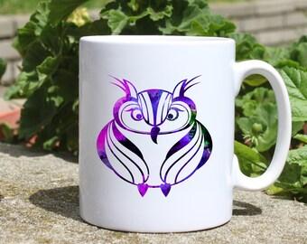 Smart owl mug - Bird mug - Colorful printed mug - Tee mug - Coffee Mug - Gift Idea