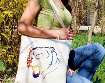 Bear tote bag -  Bear shoulder bag - Fashion canvas bag - Colorful printed market bag - Gift Idea