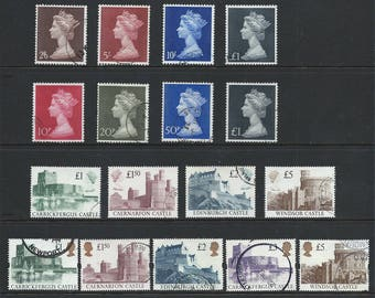 Selection of Queen Elizabeth II fine used high value stamps in complete sets with values to five pounds.  Ideal for collector or craft work.