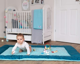 47''x67'' Large, thick and warm educational play mat/ Padded play mat /Baby play mat/Baby rug/ Baby shower gift 120x170 cm  MINT LAGOON