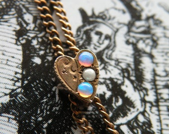 Victorian Guard Chain with Heart Slide and Opals and a Pearl, Rose Gold Filled