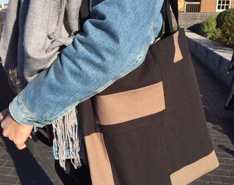 Large Scrap Tote Bag | Organic Cotton Canvas | Shopper | Shoulder Bag