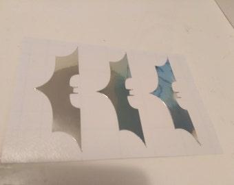 CHROME BATMANS 8 inch hi ( Buy 2 Get 1 Free ) Laptop Window Cellphone Stickers Garage tool box Bumper Wall Decals