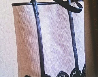 Handmade tote_hobo handbag with black laces_fabric_summer_spring_trend 2017