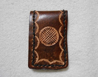 Genuine Leather, Brown Magnetic Money Clip With Golf Ball Stamp.  Personalized Money Clip, Sports Money Clip