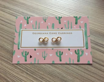 Infinity Symbol Stud Earrings Gold Plated Georgiana Esme Mother's Day Gift