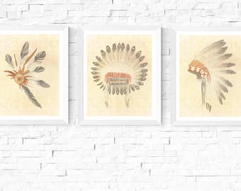 Native American Headdress Art Printables | 3 Set | Vintage | Tribal Art | Native American Headdress | Feathers | Native Art