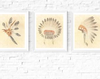 50% OFF Sale - Native American Headdress Art Printables | 3 Set | Vintage | Tribal Art | Native American Headdress | Feathers | Native Art
