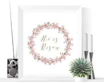 He Is Risen Easter Wreath Printable Decoration | Pink | Easter Decor | Easter Decorations | Easter Printables | Easter Wreath