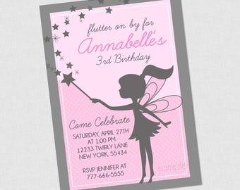 Sweet Silhouette Fairy Birthday Invitation