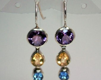 Earrings silver massive set with Amethyst, citrine, topaz blue
