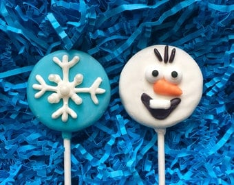 Frozen Oreo cookie pops / Olaf snowman / birthday party favor / chocolate covered Oreo / one dozen (12)