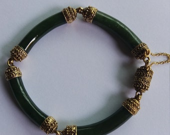14k gold dark green jade bangle