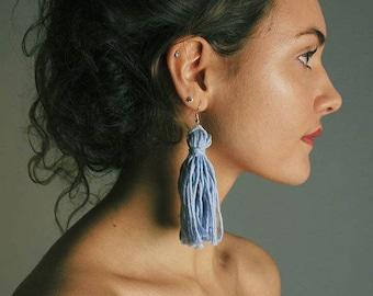 Handmade Earrings Lilac Tassel Earrings Sterling Silver Retro earrings Statement Earrings Colourful Earrings Bohemian Festival Earrings