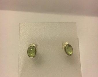 Oval Peridot stud earrings Sterling Silver