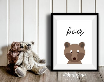 Bear, 11x14 Digital Download Prints, Wall Art, Boy Nursery, Bear Nursery, Playroom, Arbor Grace Collections