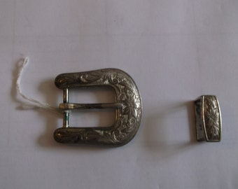Silver Plated belt buckel with matching belt tail hold down