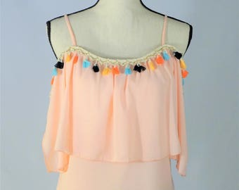 Spaghetti Strap, Off the Shoulder Blush Top with Fringe