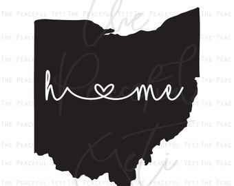 Ohio Home State SVG - State Home with Heart - Instant Download jpeg png svg pdf eps dxf