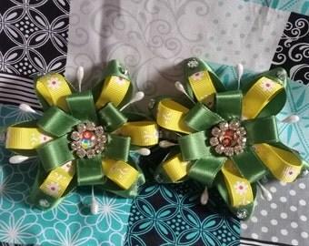 Green/Yellow hair clips