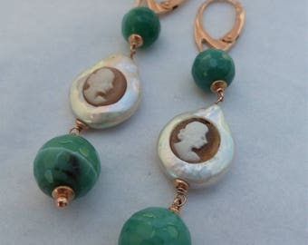 Cameo earrings set in pearls, green agate and Sterling Silver 925//anniversary/gift/present for you//bridesmaid gift