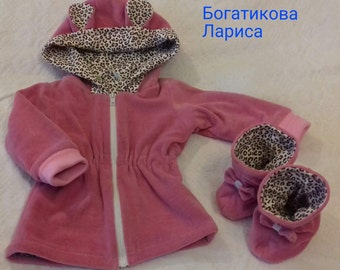 Jacket and boots from velour for girl 6-9 months